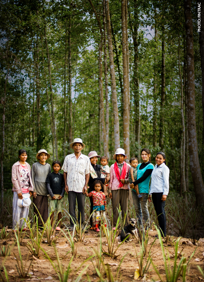 Cambodian family in a forest.